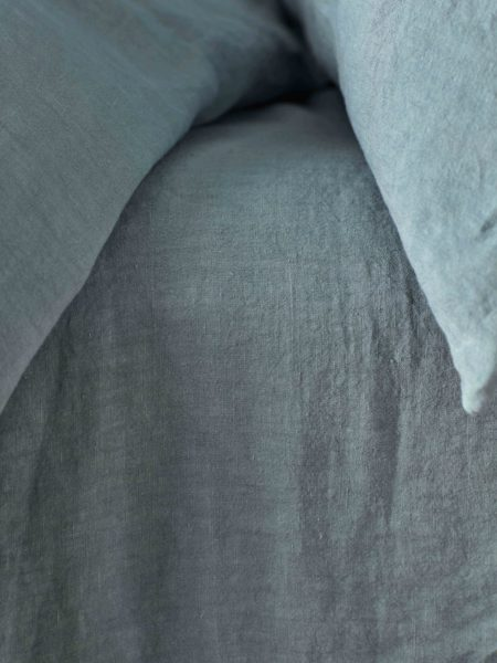 Teal 100% Linen Fitted Sheet