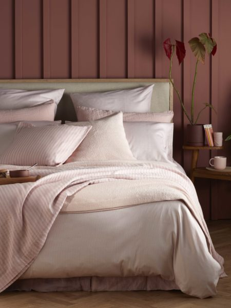 Tiny Stripe Blush Pink Duvet Cover