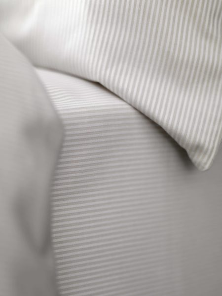 Tiny Stripe Coffee Cream Bed Sheets