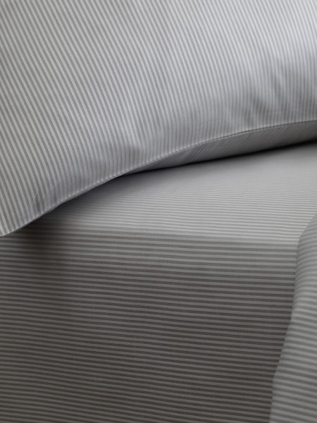 Tiny Stripe Dove Grey Euro Fitted Sheet