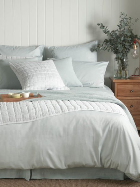 Tiny Stripe Duck Egg Duvet Cover