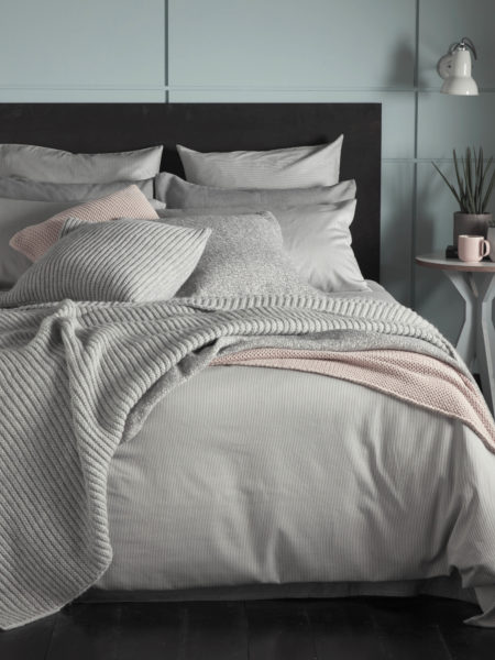 Tiny Stripe Graphite Grey Duvet Cover