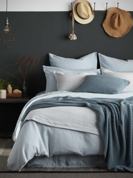 Tiny Stripe Teal Duvet Cover