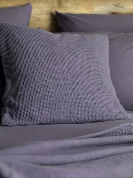 Waffle Aubergine Cushion Cover