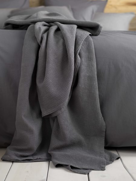 Waffle Charcoal Cushion and Throw