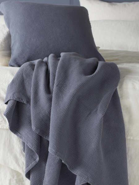 Waffle French Blue Cushion Cover and Bed Throw