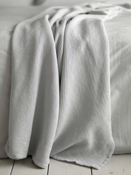 Waffle Light Grey Bed Throw