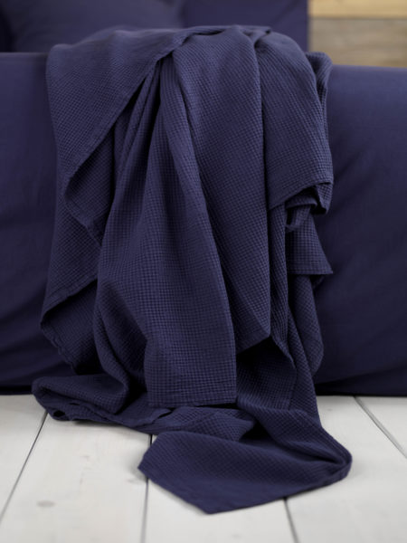 Waffle Navy Cushion Cover and Bed Throw