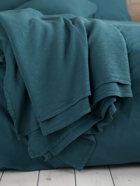 Waffle Teal Cushion Cover and Bed Throw