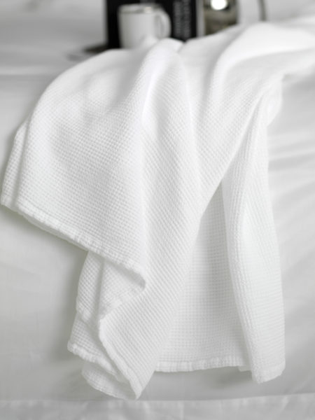 Waffle White Bed Throw