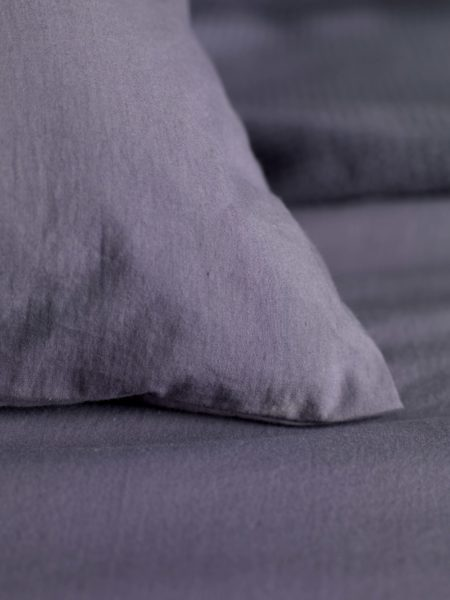 Washed Cotton Percale Aubergine Flat Sheet