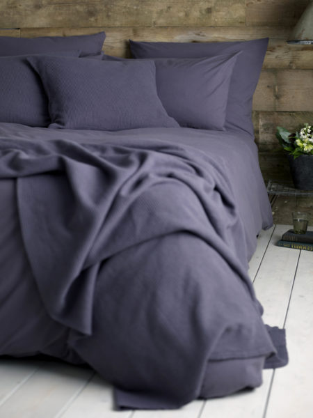Washed Cotton Percale Aubergine Duvet Cover
