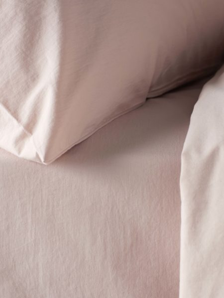 Washed Cotton Percale Blush Pink Fitted Sheet
