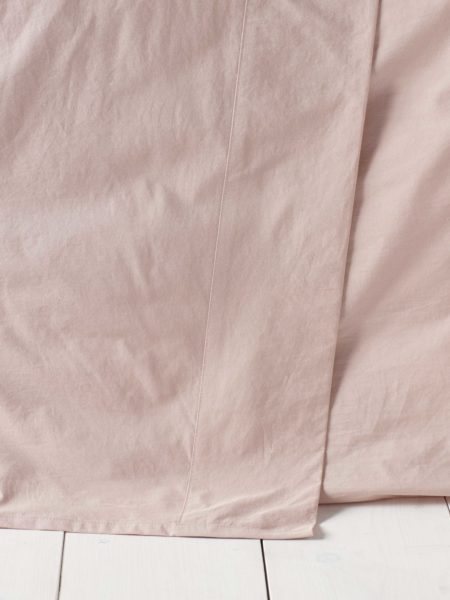 Washed Cotton Percale Blush Pink Flat Sheet