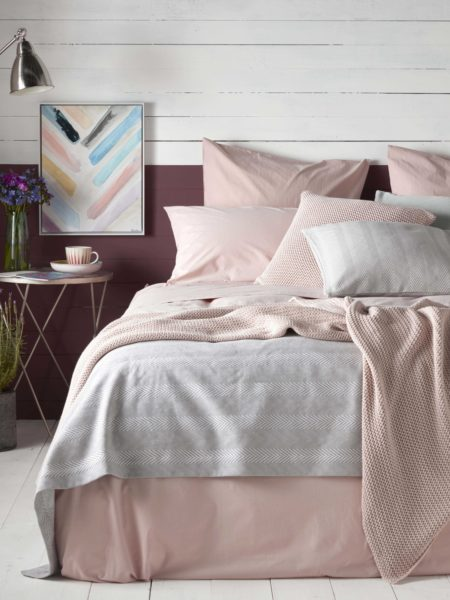 Washed Cotton Percale Blush Pink Bed Linen