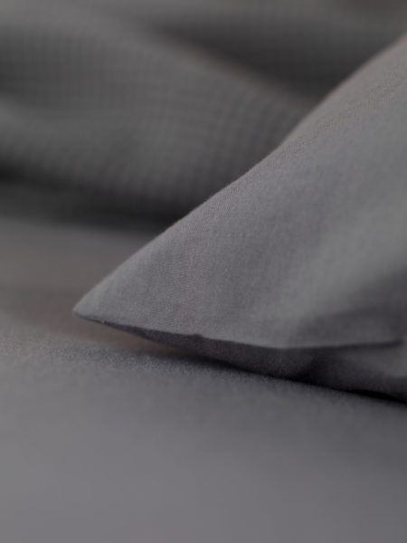 Washed Cotton Percale Charcoal Flat Sheet