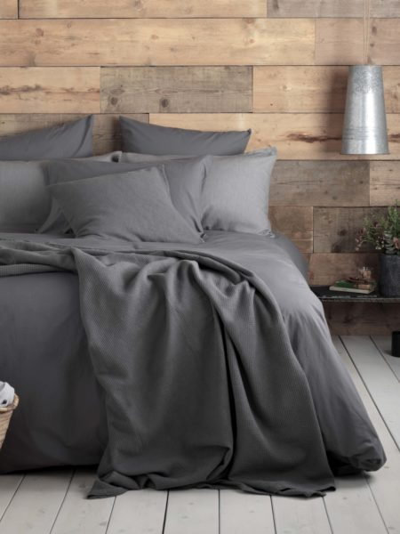 Washed Cotton Percale Charcoal Bed Linen