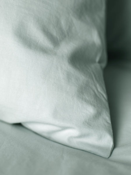 Washed Cotton Percale Duck Egg Flat Sheet