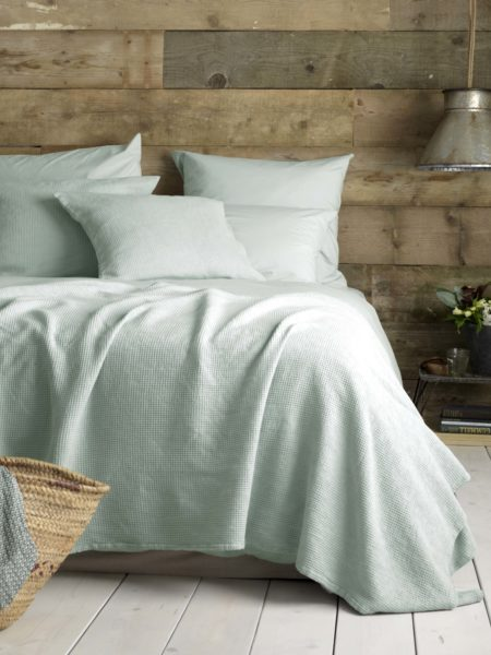 Washed Cotton Percale Duck Egg Bed Linen
