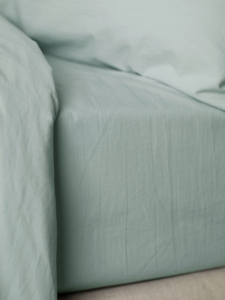 Washed Cotton Percale Duck Egg Fitted Sheet