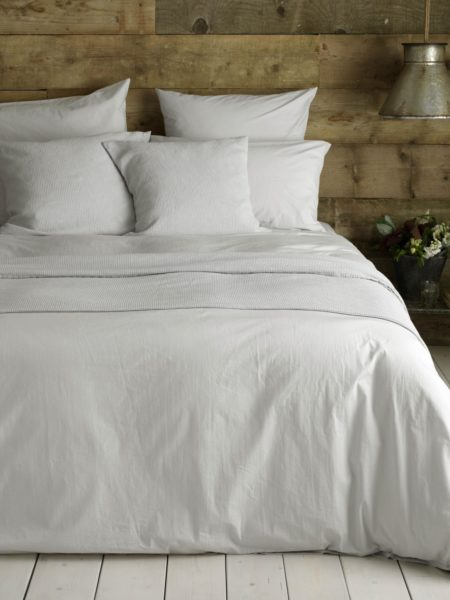 Washed Cotton Percale Light Grey Bed Linen