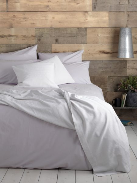 Washed Cotton Percale Lilac Bed Linen