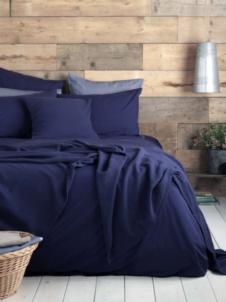 Washed Cotton Percale Navy Bed Linen
