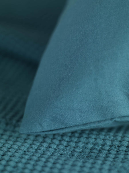 Washed Cotton Percale Teal Pillowcase