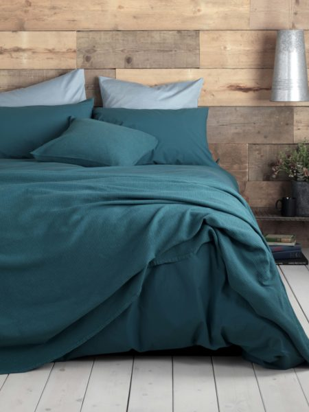 Washed Cotton Percale Teal Duvet Cover