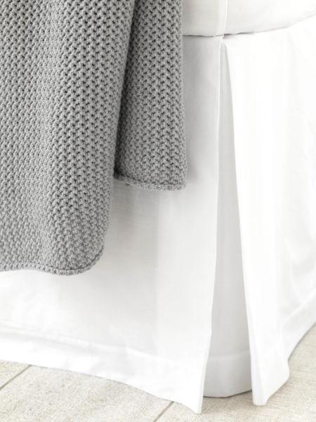 White Cotton Percale 200 Thread Count Box Pleat Valance