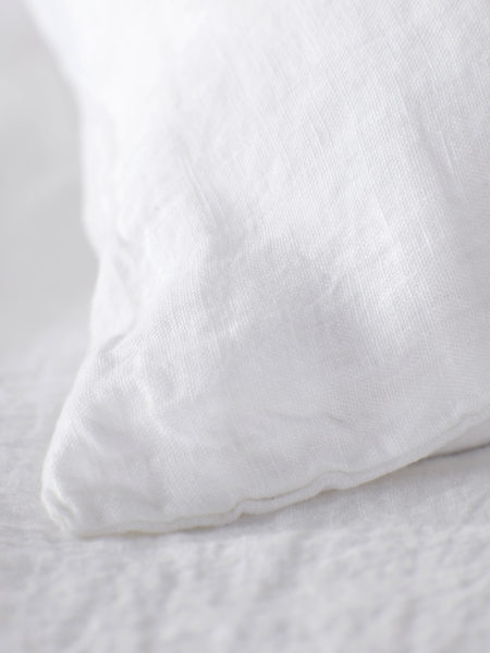 White 100% Linen Pillowcase