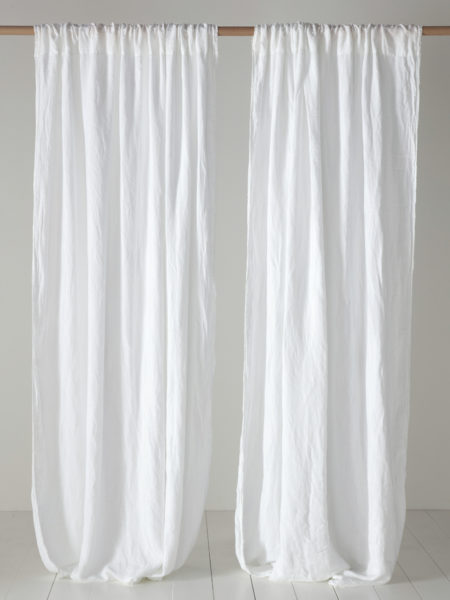 White 100% Linen Loop Top Curtain (Single)