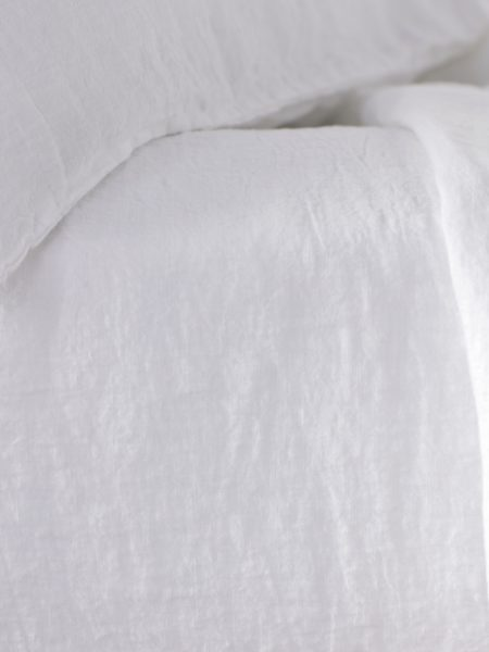 White 100% Linen Fitted Sheet