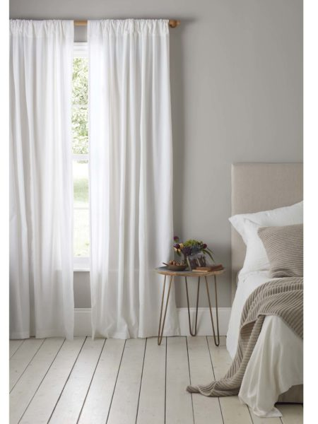 Relaxed Denim White Loop Top Curtains (Pair)