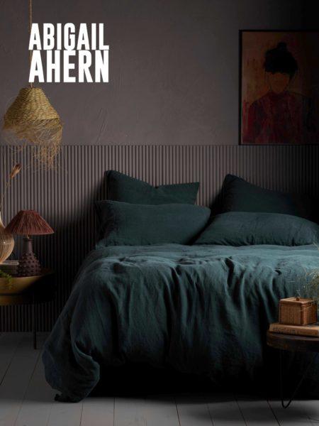 Darkest Spruce 100% Linen Duvet Cover