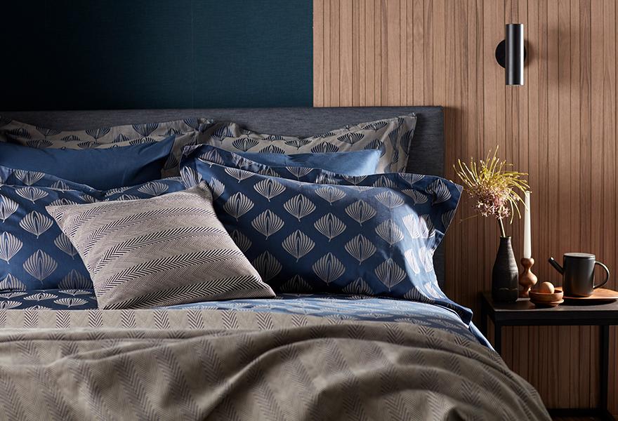 Pinecones Midnight Blue Bedding with Herringbone Accessories