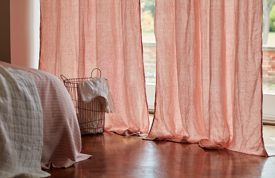 Blush Pink Linen Curtains with Sunlight Shining Through