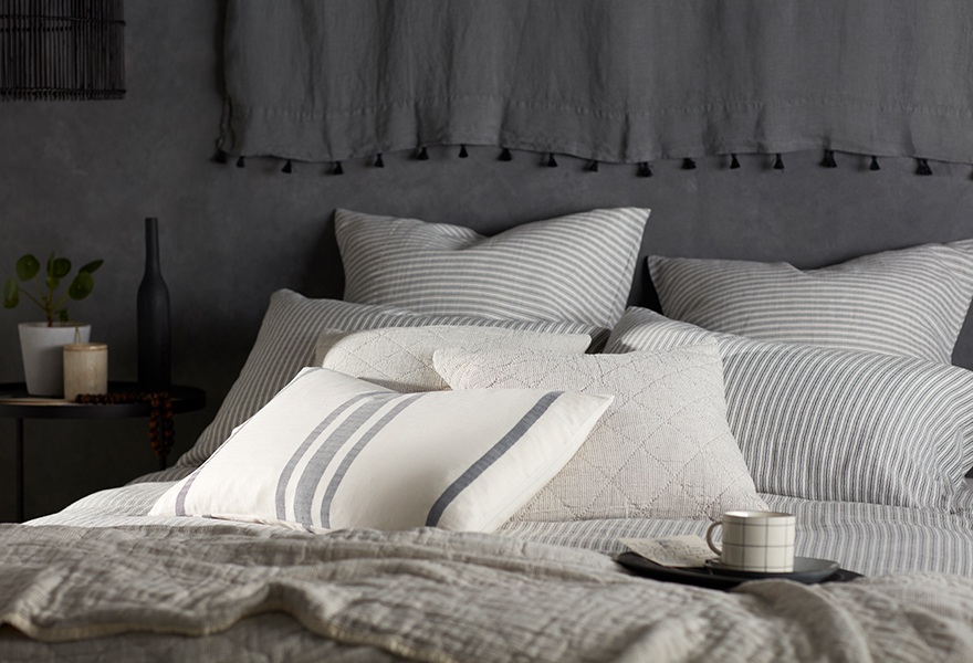 Ticking Stripe Grey Bedding with Ticking Stripe Accessories