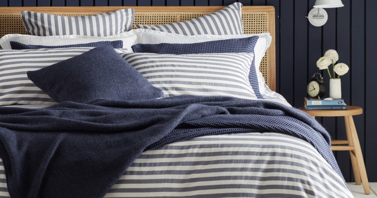 Coastal Stripe Navy 100 Cotton Duvet Cover Secret Linen Store