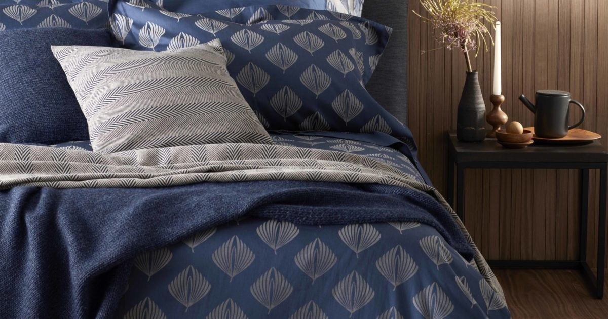 Pinecones Midnight Blue Duvet Covers 100 Cotton Sateen