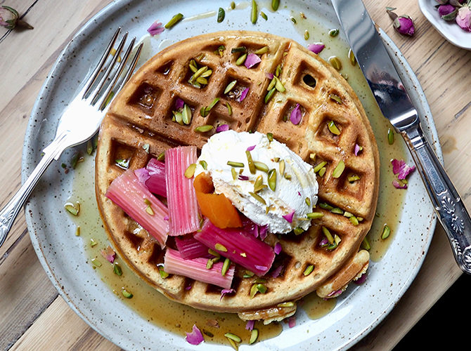 Brown Butter Waffles with Orange Poached Rhubarb and Pistachios