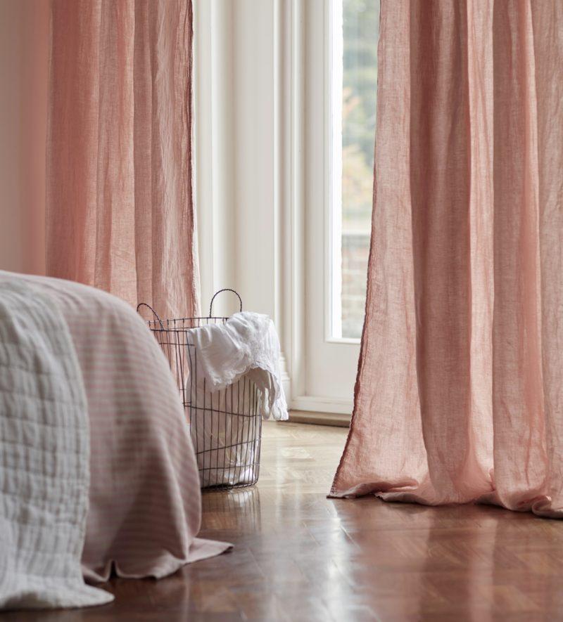 Blush Pink 100 Linen Loop Top Curtain Single Secret
