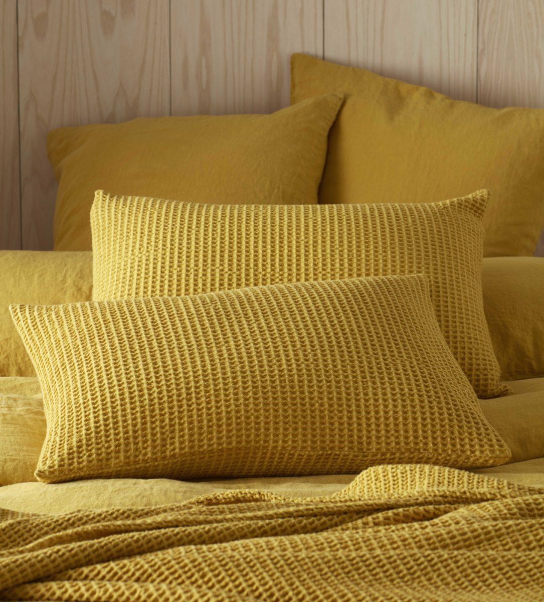 Mustard Yellow Big Waffle Cushion Cover Secret Linen Store
