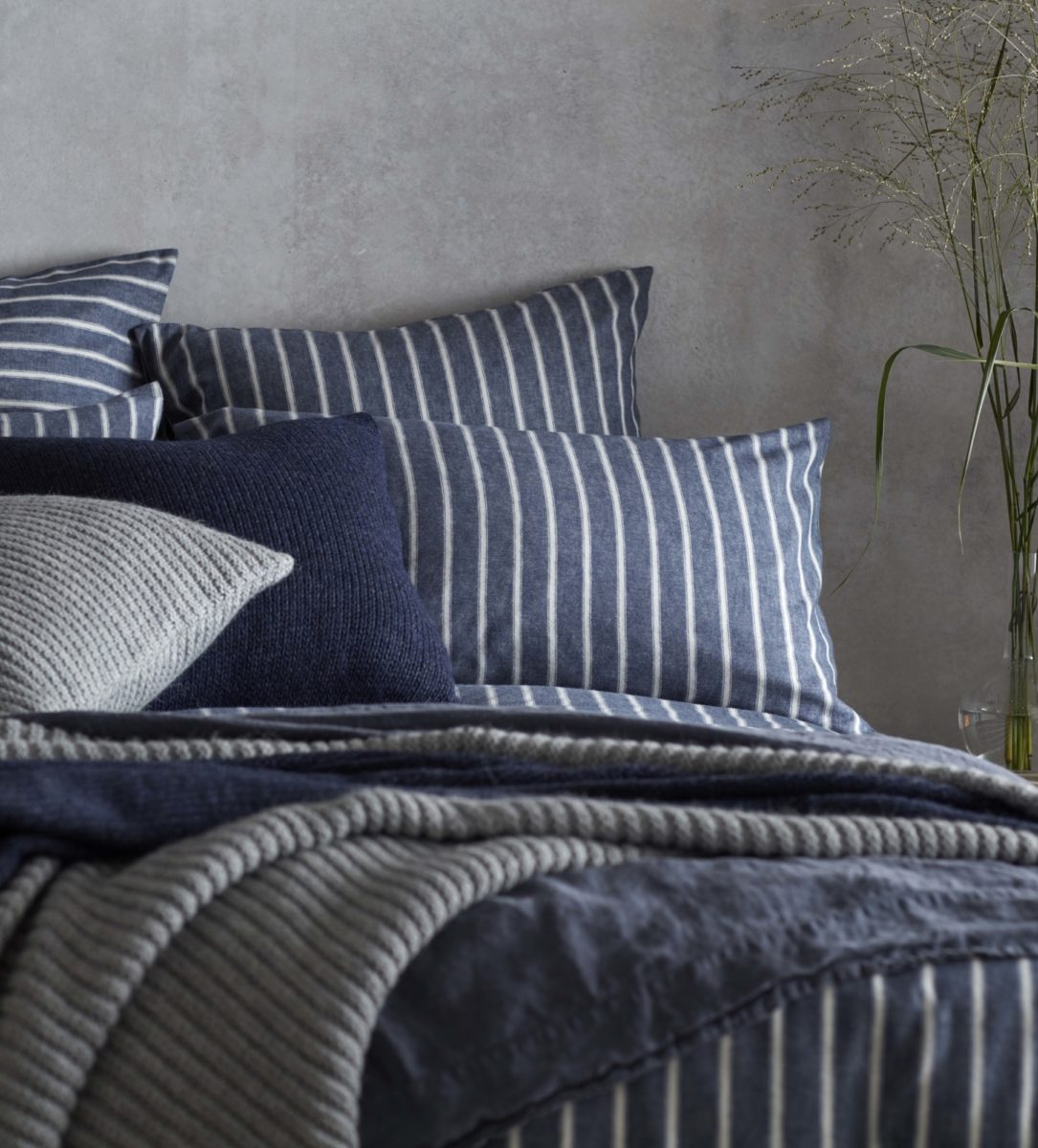 Ticking Stripe Blue Pillowcase | Brushed Cotton | Secret Linen Store
