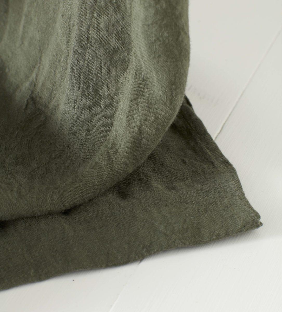 Olive Green 100 Linen Loop Top Curtain Single Secret Linen Store