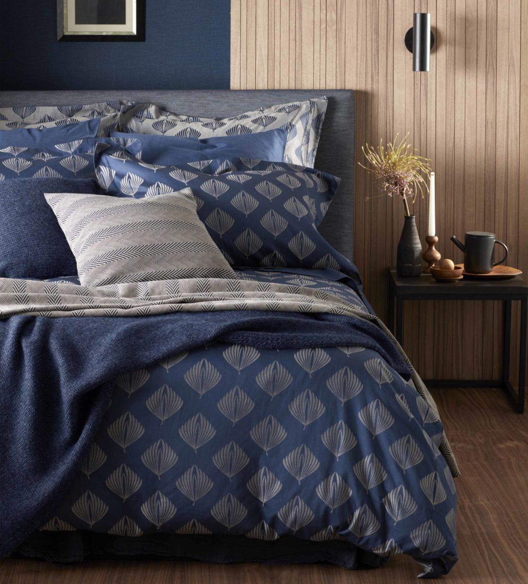 Pinecones Midnight Blue Cotton Bedding Secret Linen Store