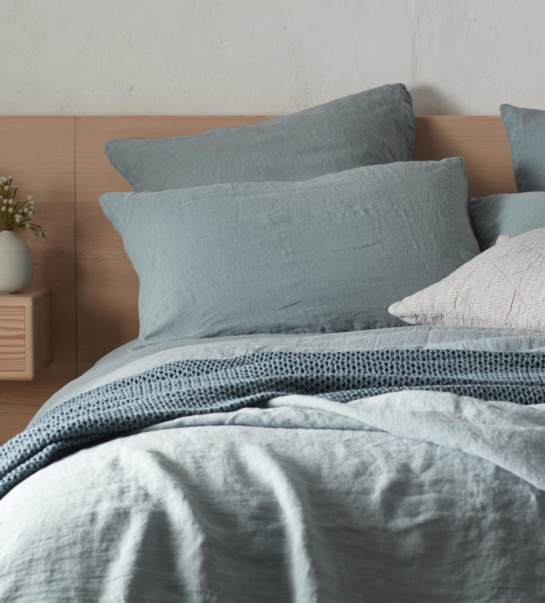 Teal Linen Pillowcases | Natural