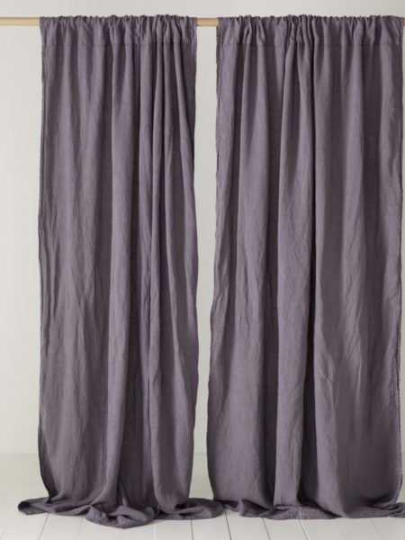 Aubergine Purple 100% Linen Loop Top Curtain (Single)