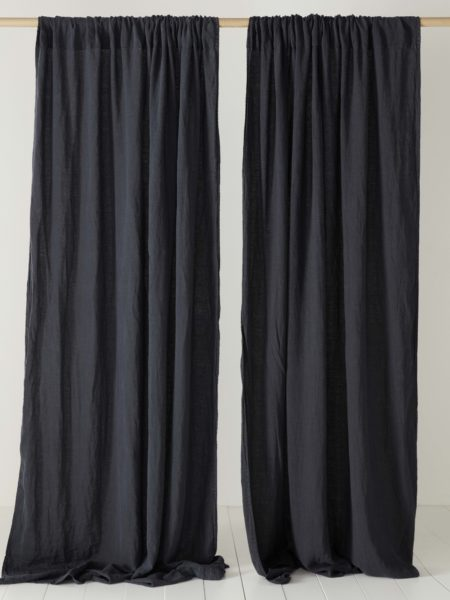 Black 100% Linen Loop Top Curtain (Single)