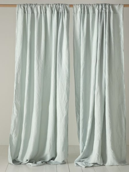 Duck Egg 100% Linen Loop Top Curtain (Single)